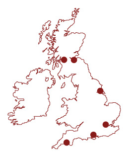 Map of Britain showing Watch Ashore Branch locations